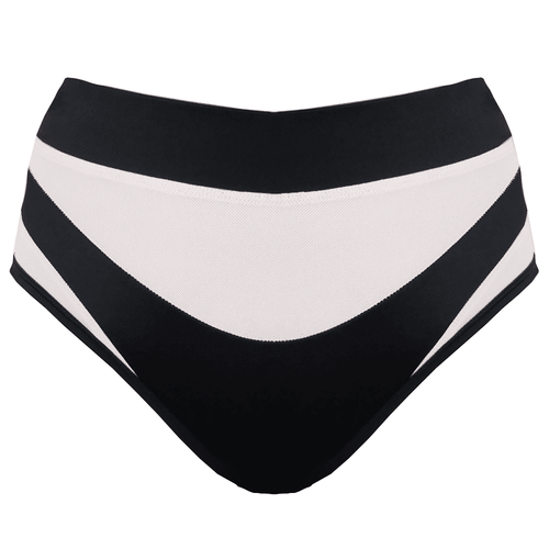 Isis High Waist Bottoms Black With White Mesh