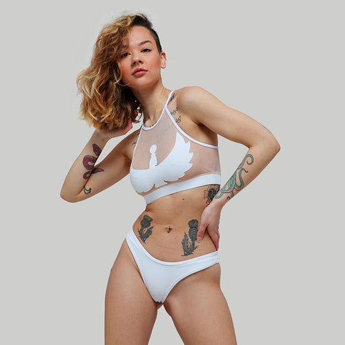 Creatures of XIX Isis pole dance top & Selene bottom white front view on model