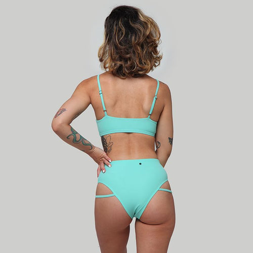 Creatures of XIX Raree pole dance top & LA pole dance bottom mint back view
