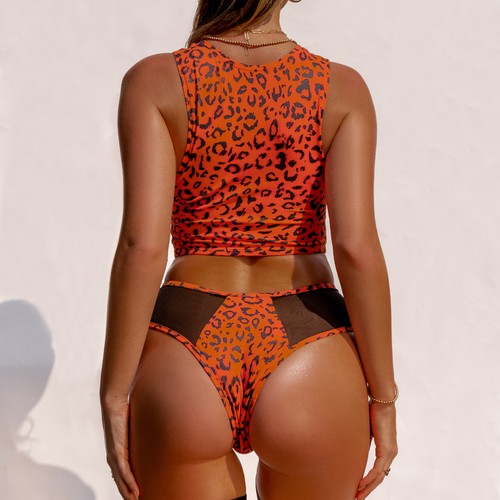 Creatures of XIX Safari Cheeky pole dance bottoms, orange, back view