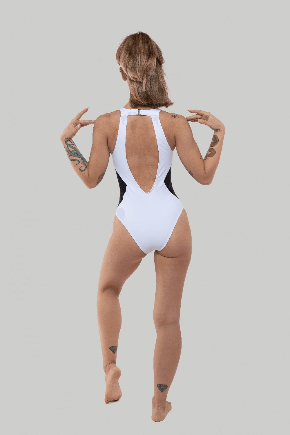 Creatures of XIX XX Bodysuit pole dance wear white back view