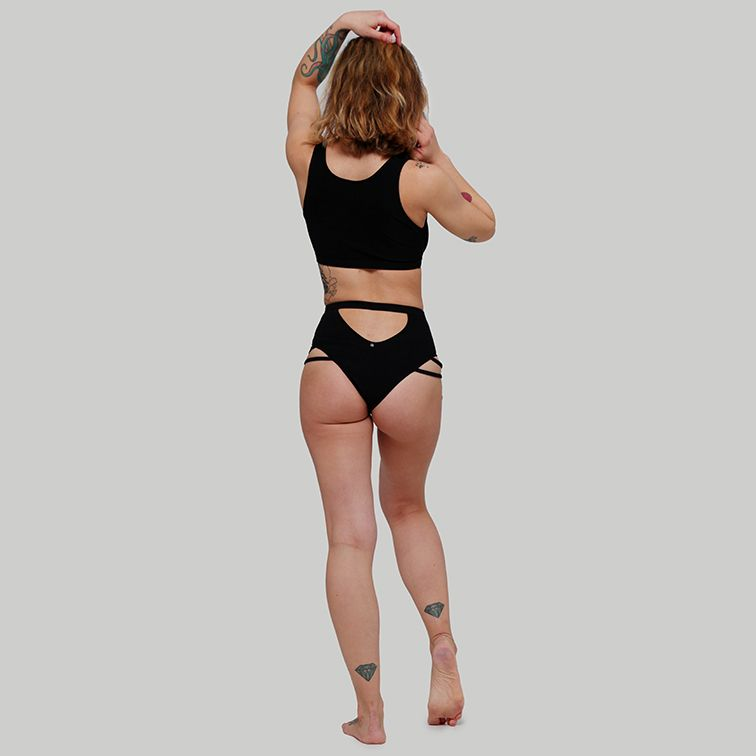Creatures of XIX pole aerial dance wear Valley set ribbed black back view