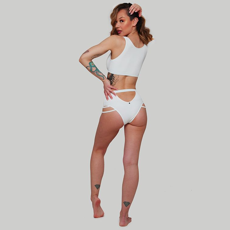 Creatures of XIX pole aerial dance wear Valley set ribbed white back view