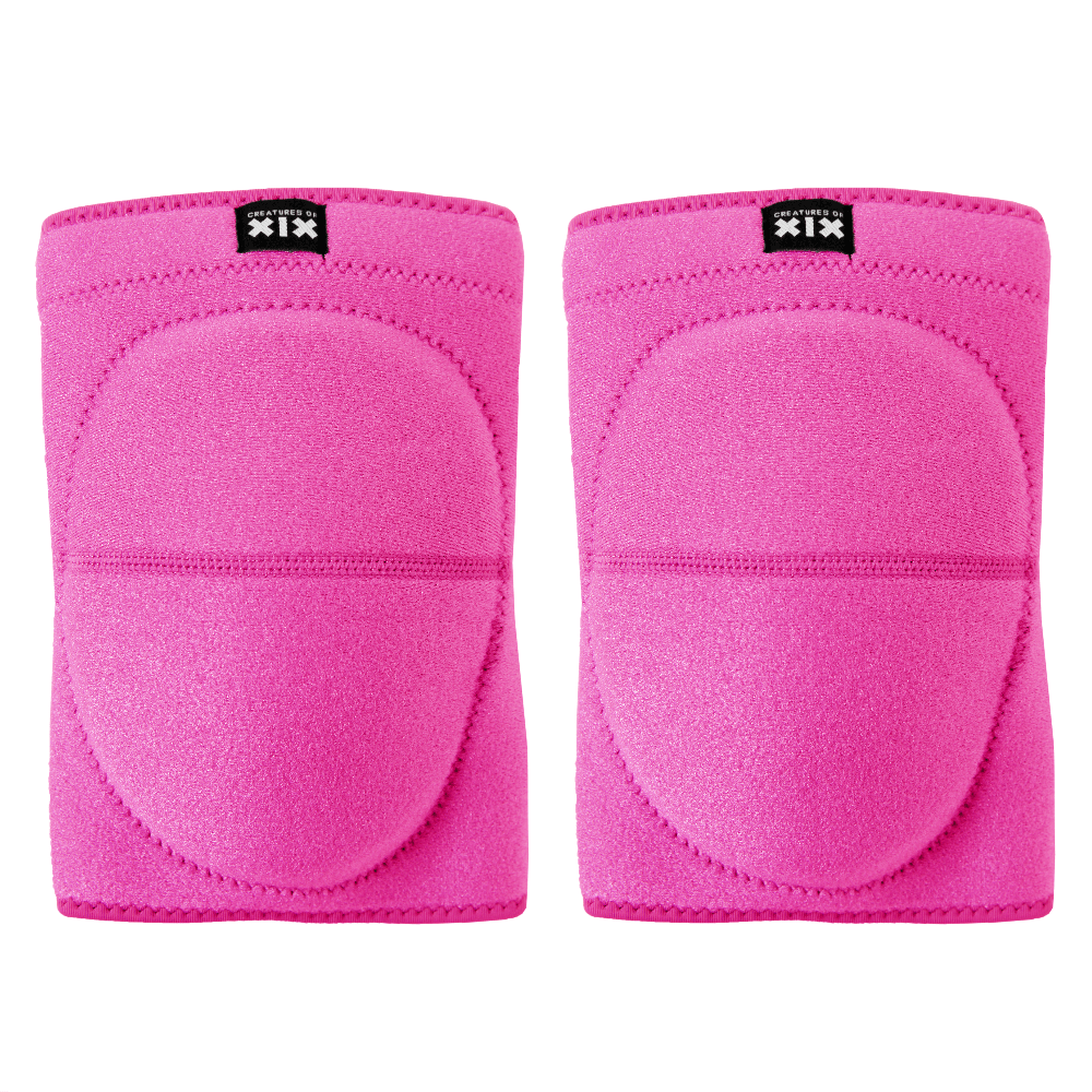 Creatures of XIX pole dance knee pads pink front view