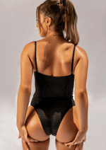 Creatures of XIX Gecko Grip Medusa bodysuit, pole aerial dance, activewear, black, back view