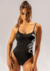Creatures of XIX Gecko Grip Medusa bodysuit, pole aerial dance, activewear, black, front view on model