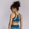 Creatures of XIX NYX blue leopard pole aerial dance fitness top back view