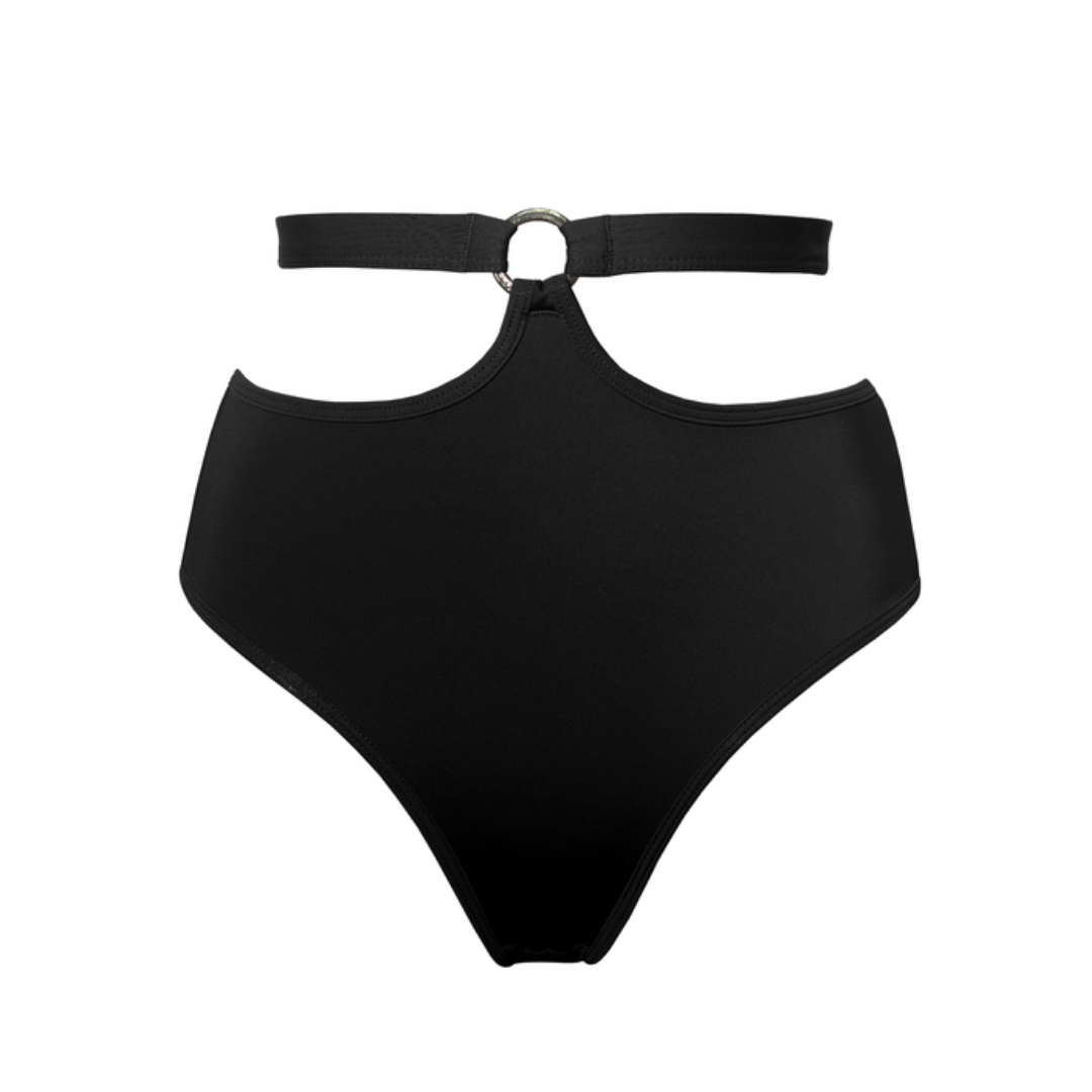 Hamade Black High Waist pole aerial dance bottom, front view