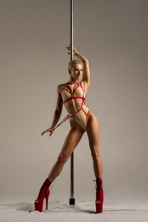 Hamade Nude High Waist pole aerial dance set, front view on model