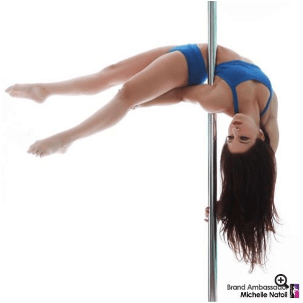 Pole dancer wearing Bad Kitty V-Front pole dance top, royal blue