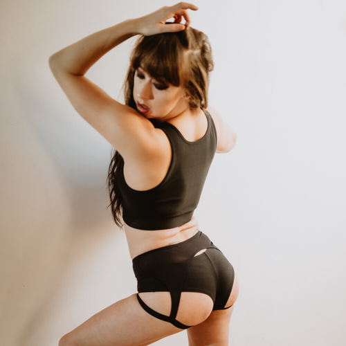 Sway Bettie pole dance aerial top & Ruby short, black back view on model