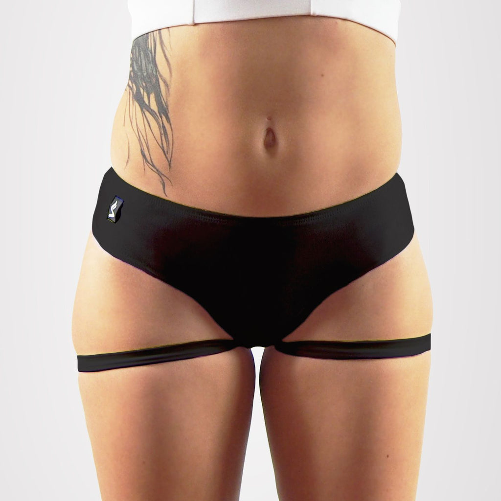 Sway Garter pole dance short black, front view