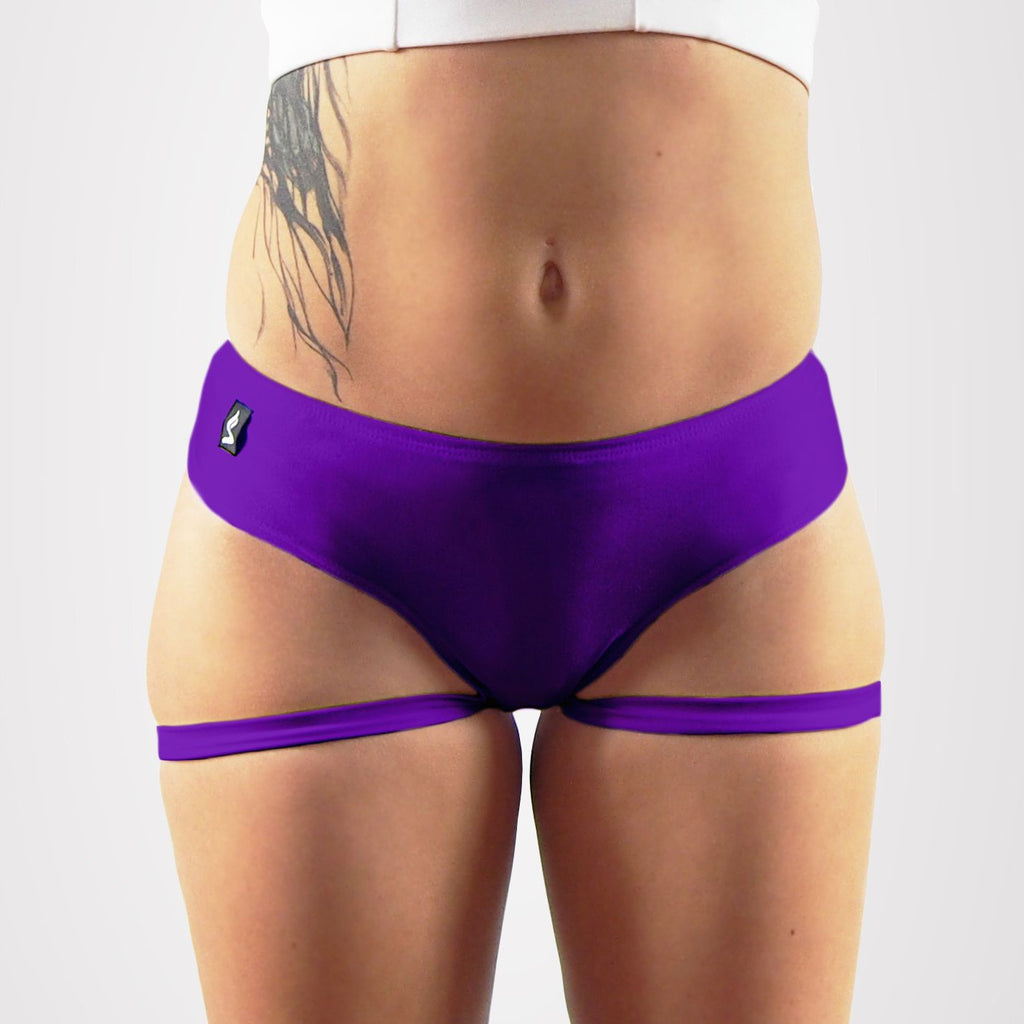 Sway Garter pole dance short plum, front view
