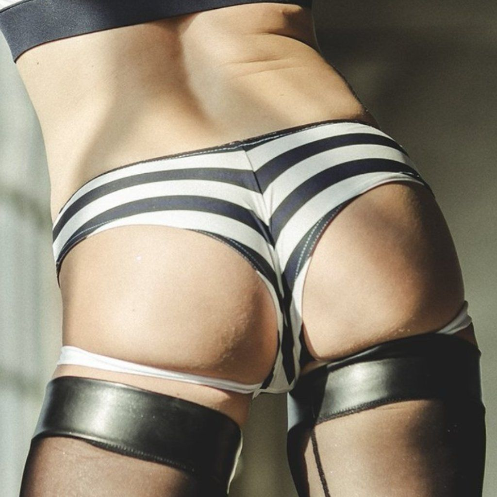 Sway Garter pole dance short back view on model