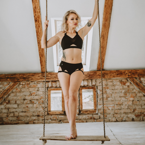 Sway Jayne pole dance aerial top & Ruby Short black, front view