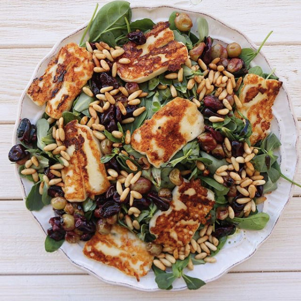 Roasted Grapes & Halloumi Salad by Sarah Assi