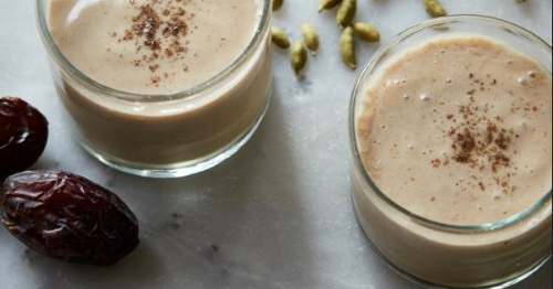 Dates, Chia and Almond Butter Protein Vegan Smoothie