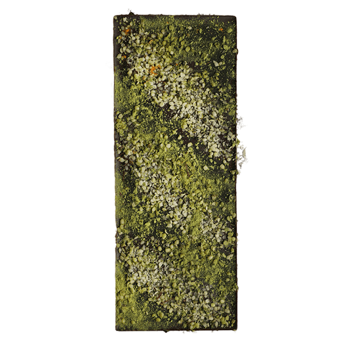 Bits and Pieces 85% cocoa 100g bar with superfood (matcha and hemp seeds)