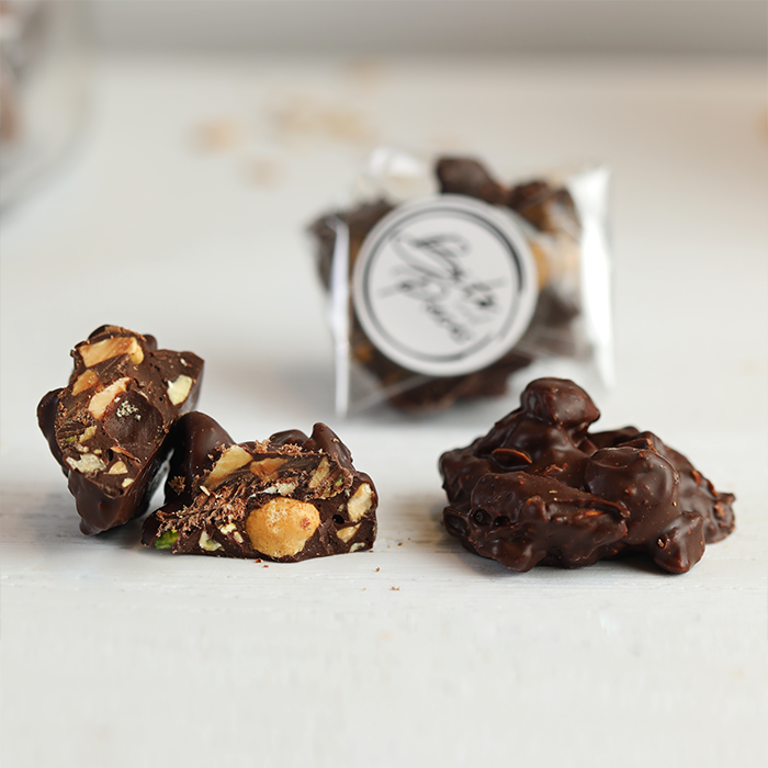 Bits and Pieces 85% cocoa rocher with mixed nuts