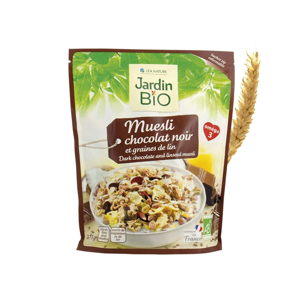 Jardin Bio Muesli with Dark Chocolate Pieces and Flaxseeds