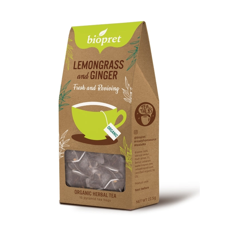 Biopret Organic Lemongrass & Ginger Tea