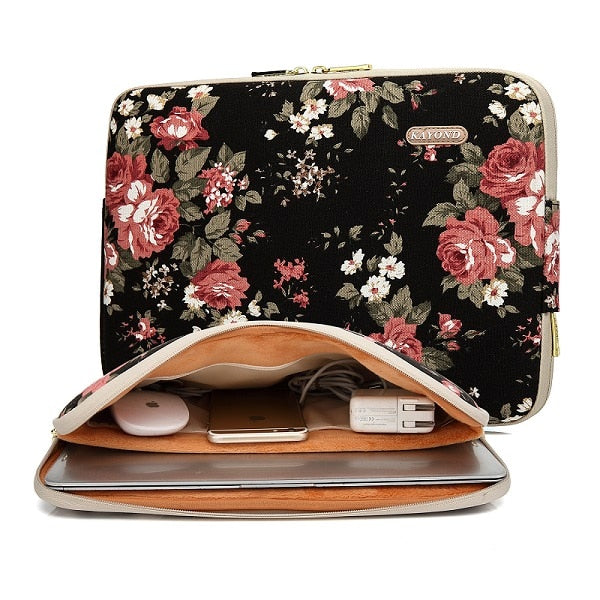 914ed02aae6a Women Flower Laptop Sleeve Case for Macbook Air 13 Dell HP 11 14 15  Notebook Computer Tablet PC Cover Bag Waterproof Canvas
