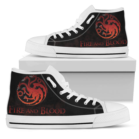 Fire And Blood Women's High Top Canvas Shoes