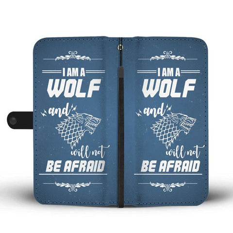 Hand Crafted I Am A Wolf And Will Not Be Afraid Wallet Case