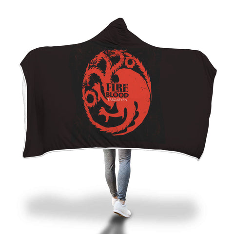 Fire And Blood Targaryen Full Printed Sleep-Wish Hooded Blanket