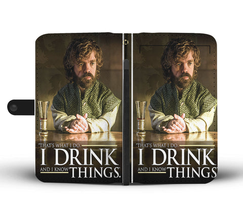 Hand Crafted I Drink And I Know Things Wallet Case