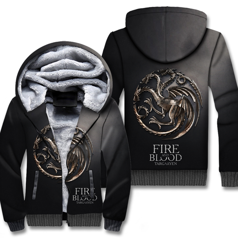 Fire And Blood New Addition Winter Warm Fleece Thicken Jacket