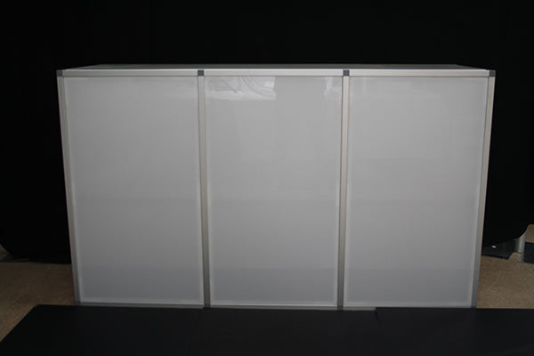 Illuminated 6' White Plexiglass Bar (rental price)