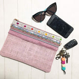 Zip Clutch - {Blush Pink Linen}