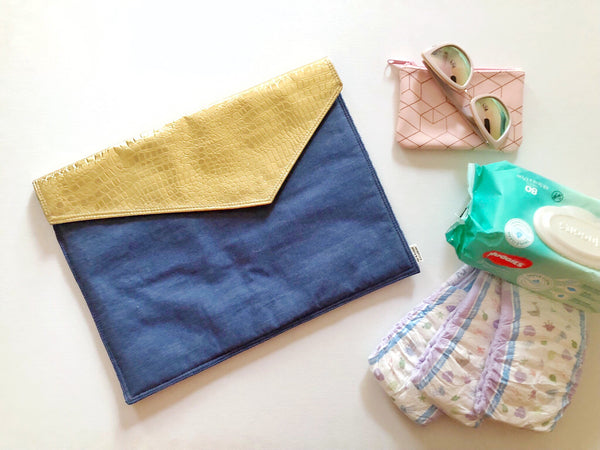 Oversized Clutch - {Denim & Gold}