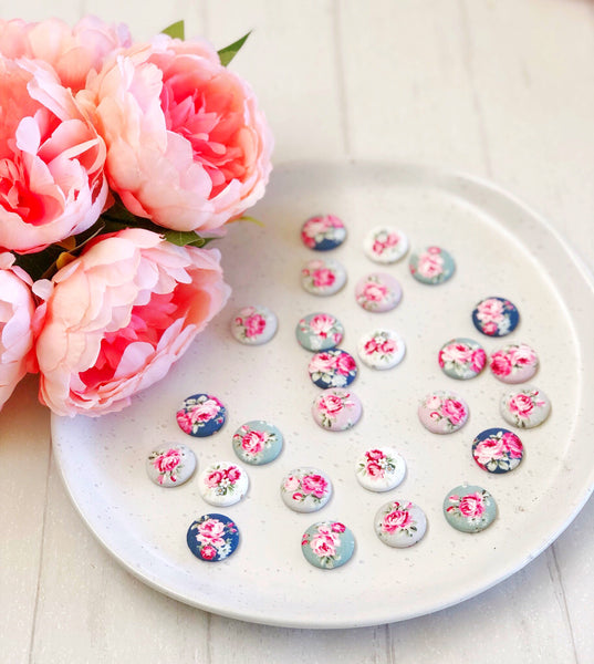 Fabric Stud Earrings - {Vintage Floral}