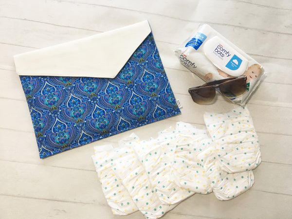 Oversized Clutch - {Blue Paisley}