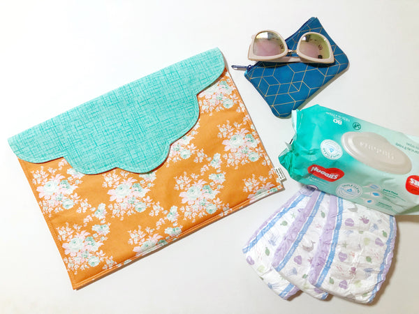Oversized Clutch - {Orange & Teal Floral}
