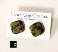 Fabric Stud Earrings - {Mega Animal Print}