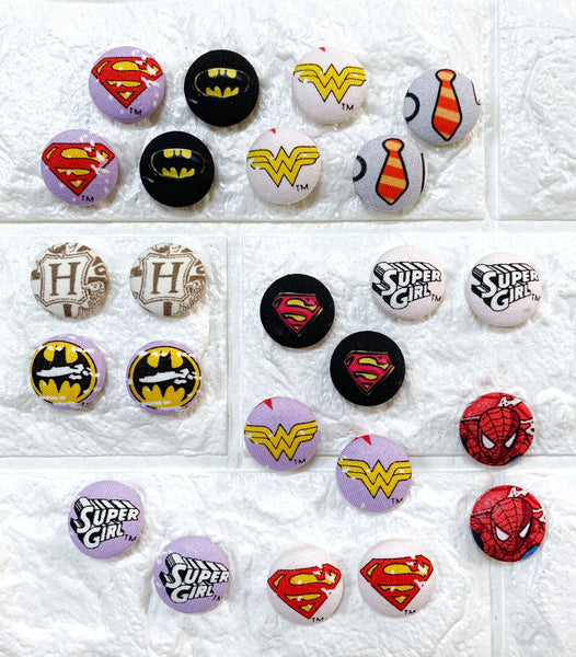 Fabric Stud Earrings - {Heroes & Geeks}