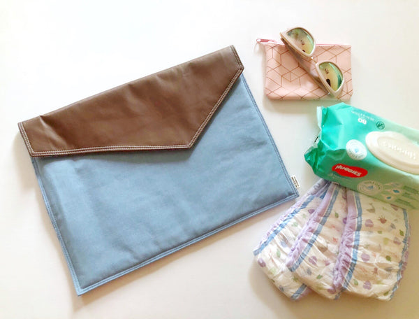 Oversized Clutch - {Denim & Chocolate}