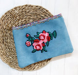 Zip Clutch - {Large Teal Embroidery}