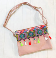 Zip Clutch - {Dusty Pink Neon Embroidery}
