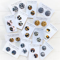 Fabric Stud Earrings - {Animal Print}