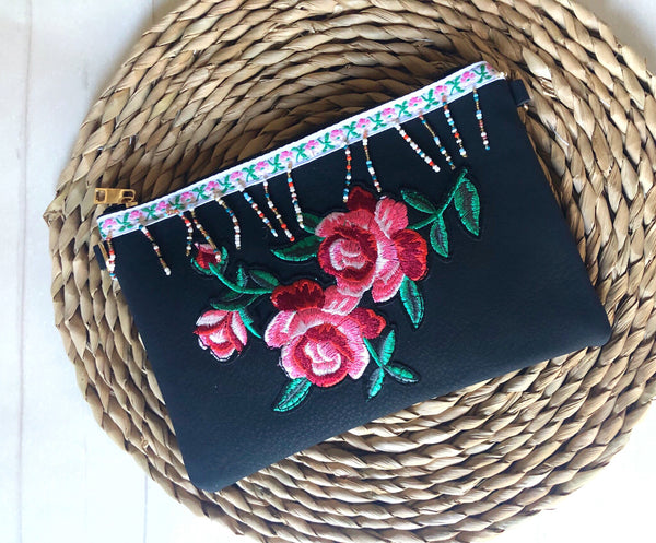 Zip Clutch - {Black Embroidery}