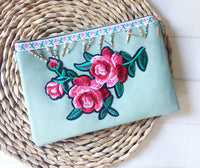 Zip Clutch -{Dusty Green Embroidery}