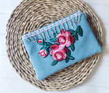 Zip Clutch - {Teal Embroidery}