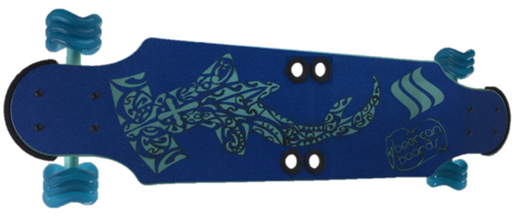 "Sea Foam Green Hammerhead 32"" Ginger Ale Longboard with Shark Wheels"