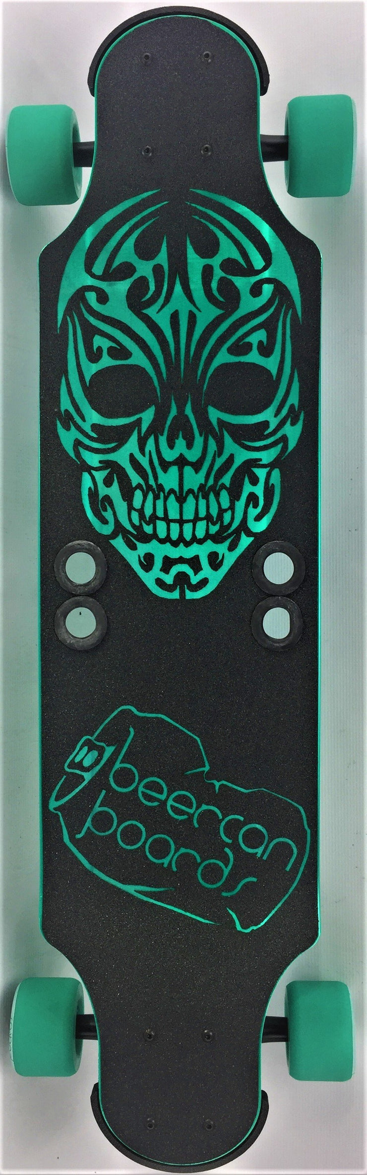 "Teal Tribal Skull 32"" Ginger Ale Longboard"