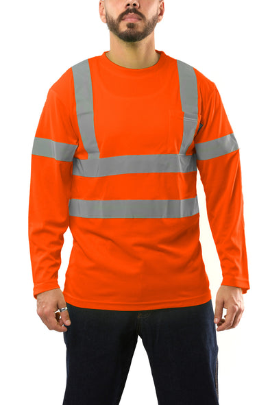 KS07 - Kolossus AirFlex ANSI Class 3 Compliant High Visibility Long Sleeve Safety Shirt - Orange