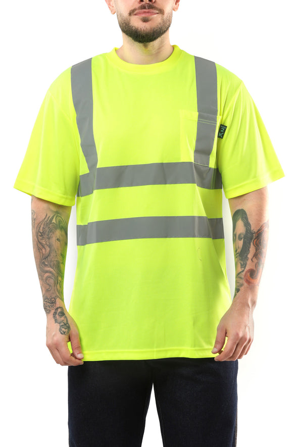 KS02 - Kolossus AirFlex ANSI Class 2 Compliant High Visibility Short Sleeve Safety Shirt - Yellow